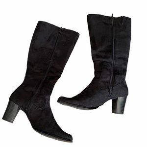 MIETTE FAUX SUEDE BLACK TALL HEELED BOOTS
